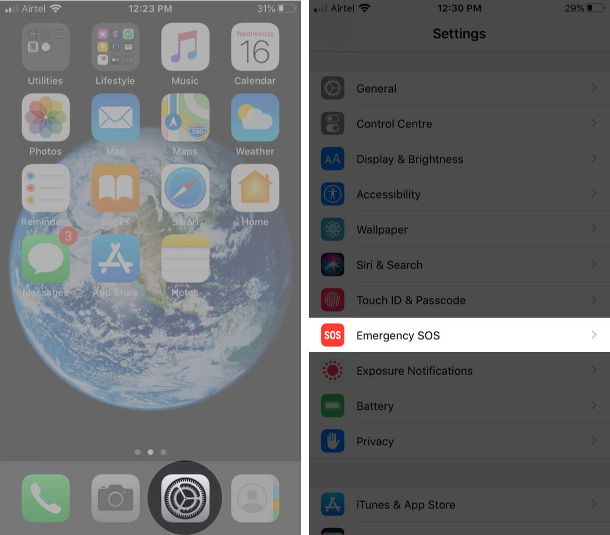 open settings and tap on emergency sos on iphone