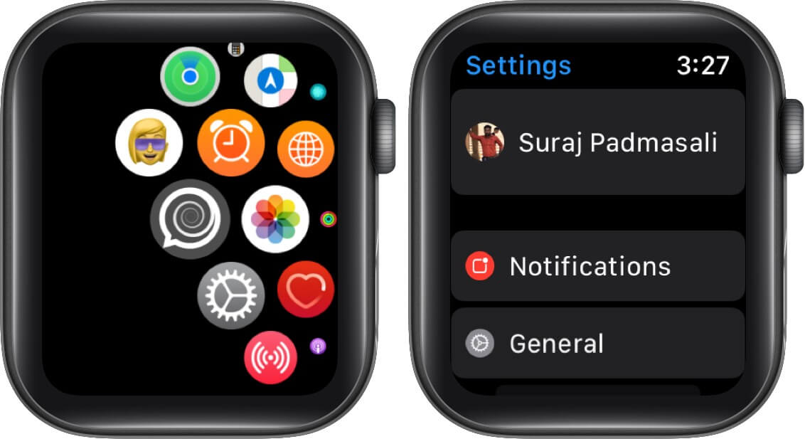 open settings and tap on general on apple watch