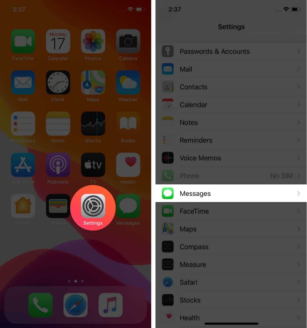 open settings and tap on messages on iphone