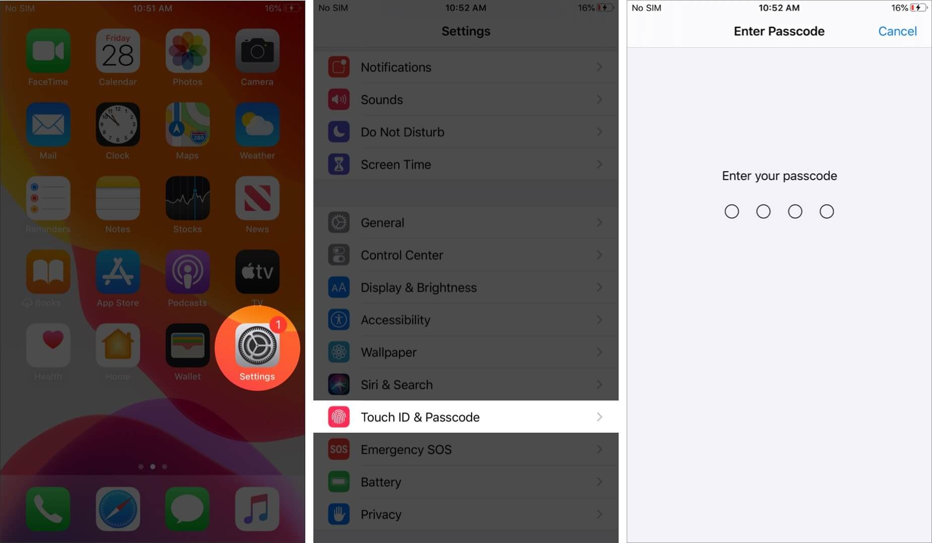 open settings and tap on touch id and passcode