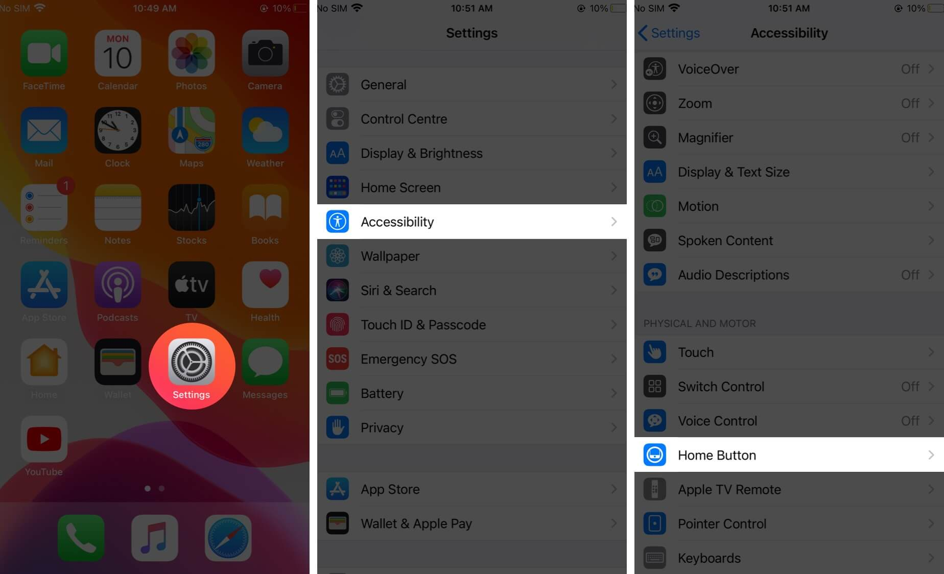 open settings tap on accessibility and then tap on home button on iphone
