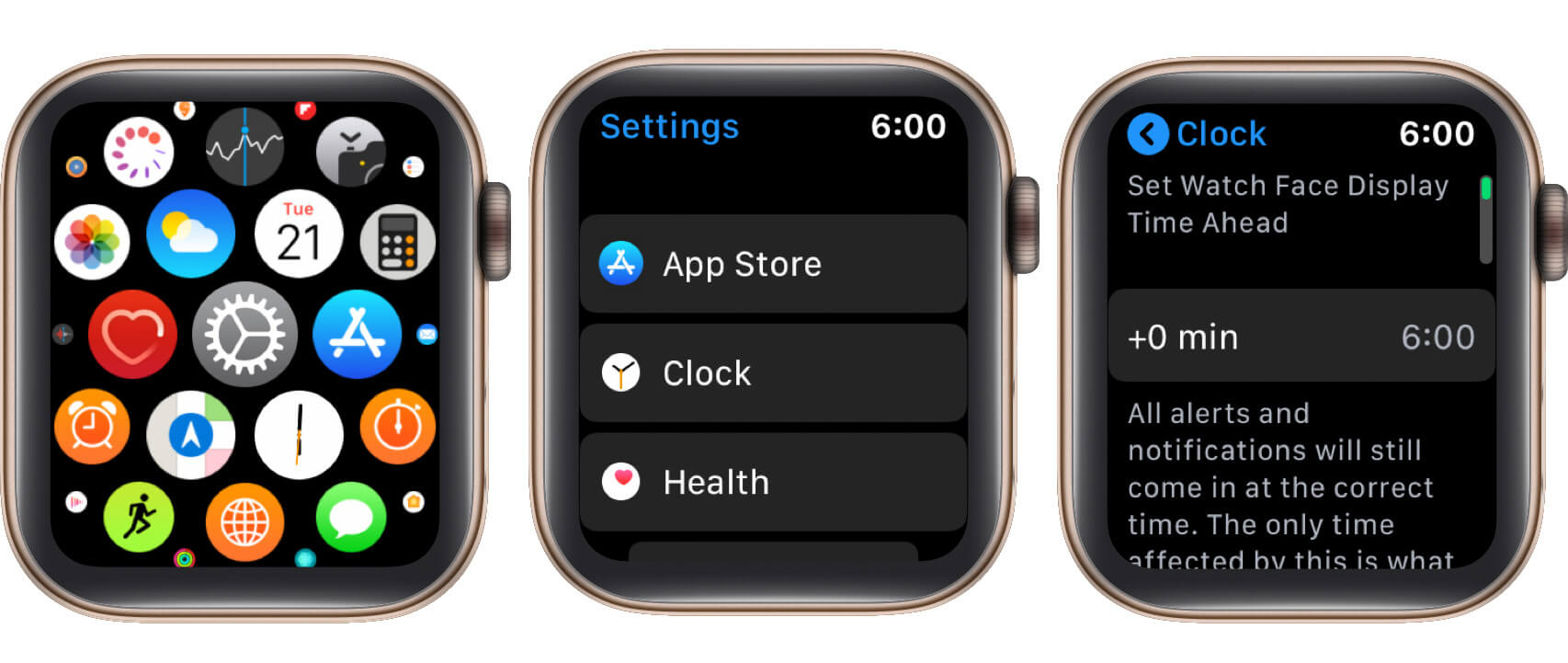 open settings tap on clock and then on time on apple watch