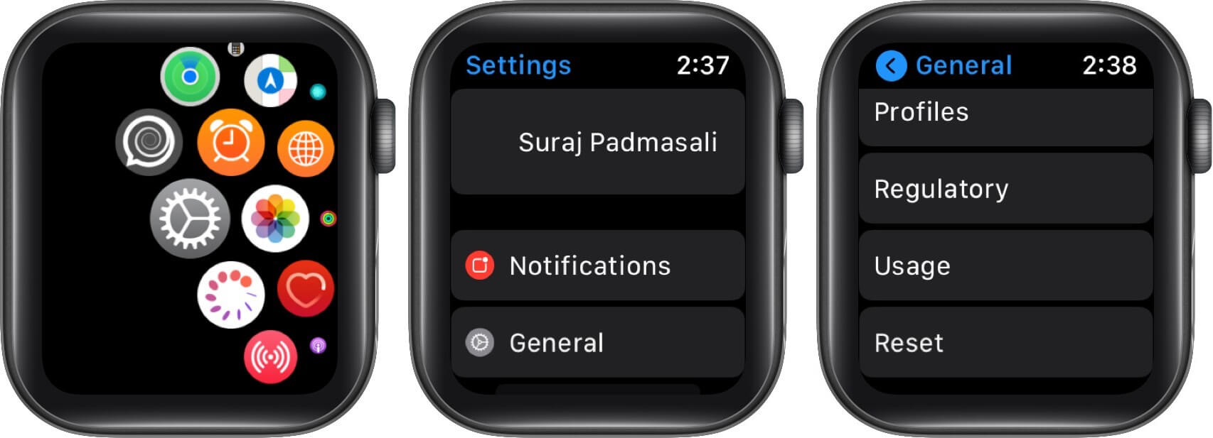 open settings tap on general then tap on reset on apple watch