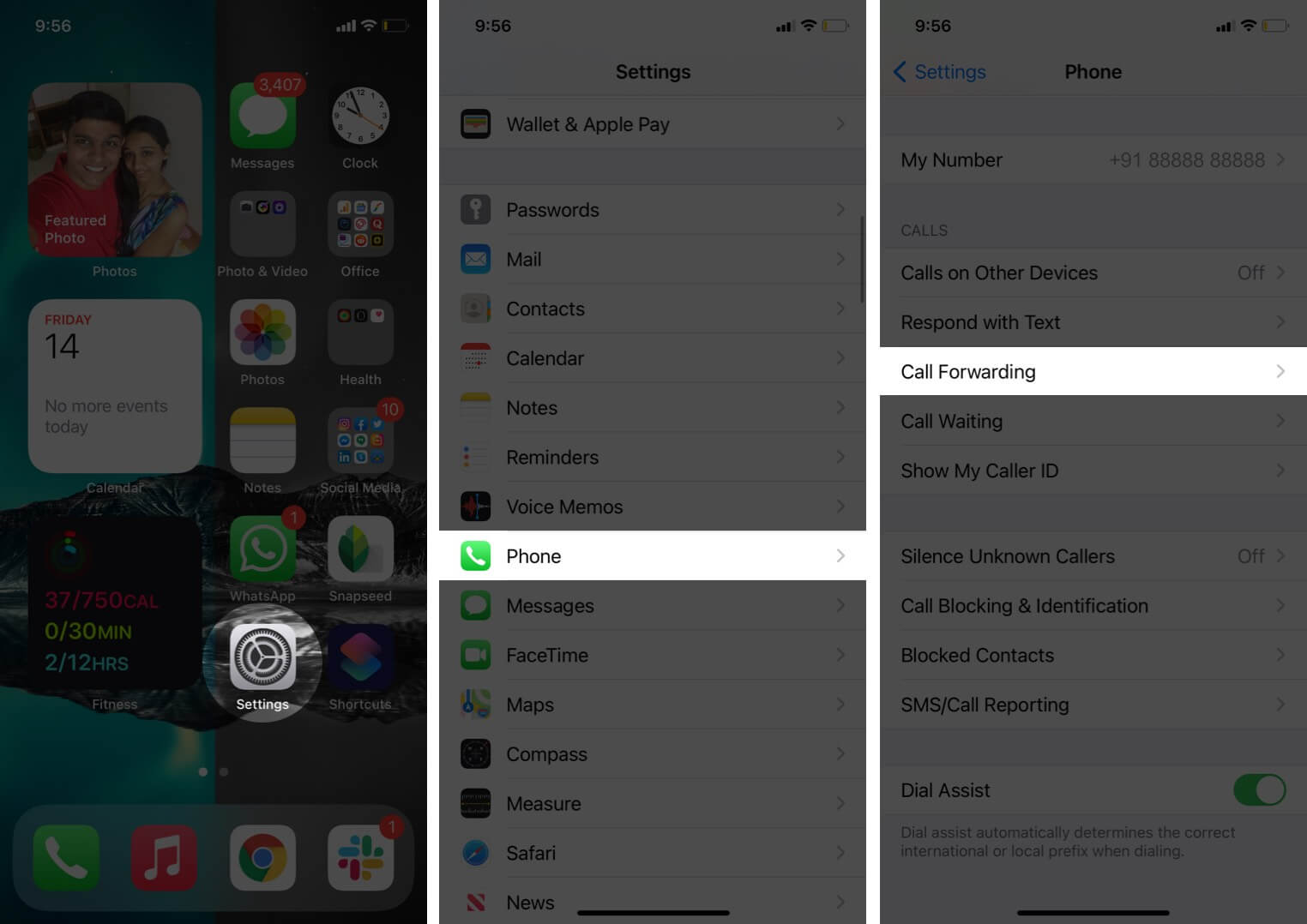 open settings tap on phone and select call forwarding on iphone