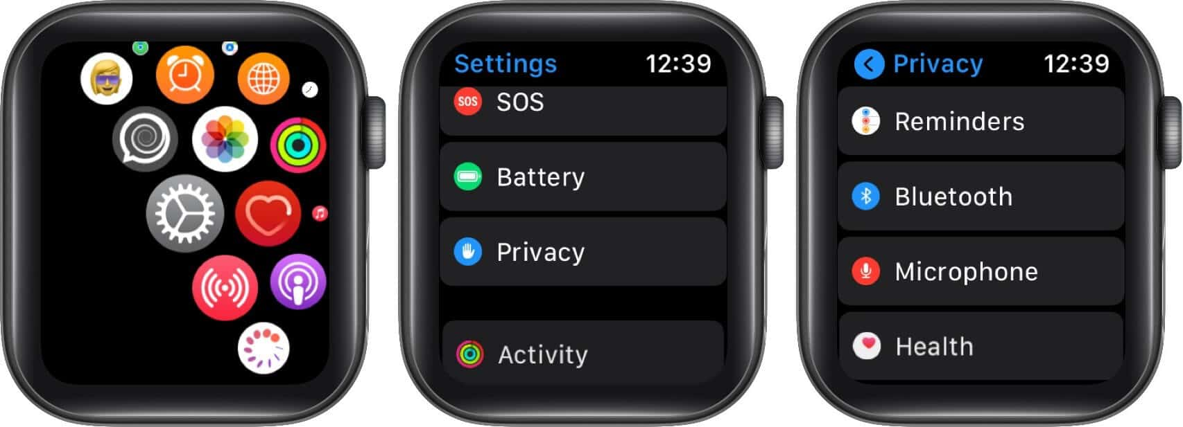 open settings tap on privacy and then tap on microphone on apple watch