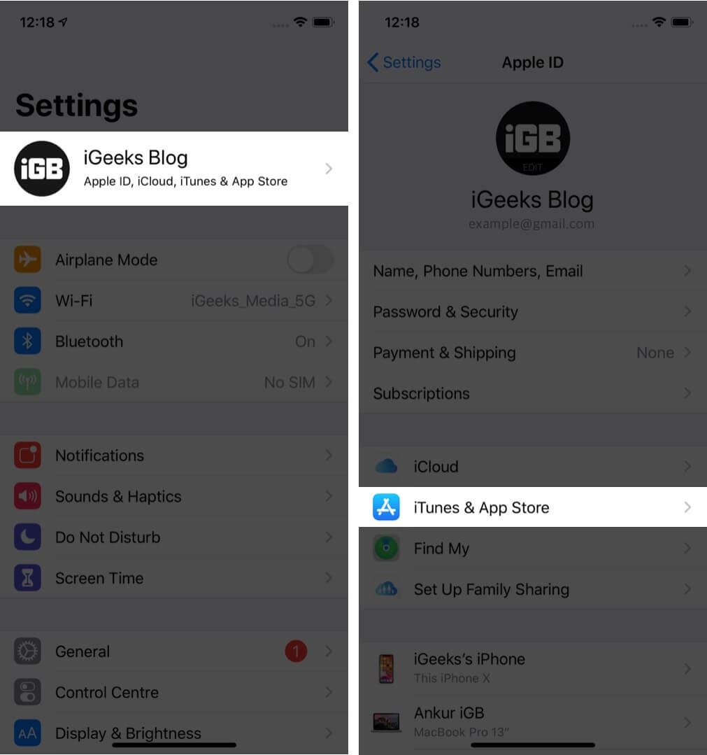 open settings tap on profile and then tap on itunes & app store on iphone