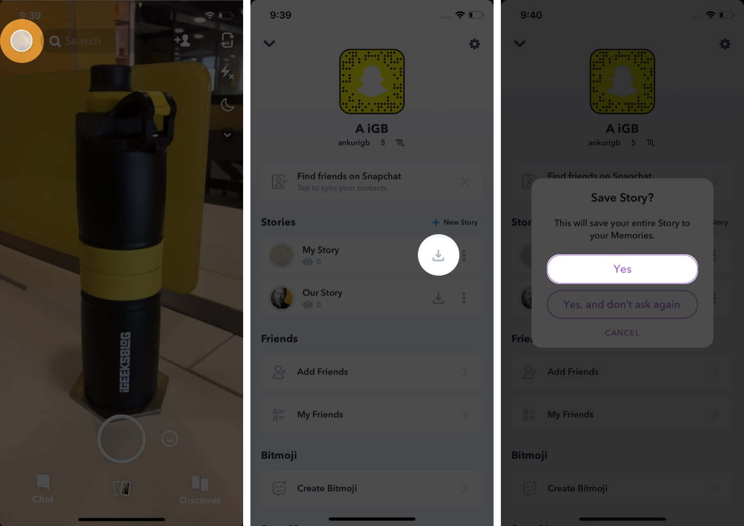 open snapchat tap on profile tap on save and then tap yes to save on iphone