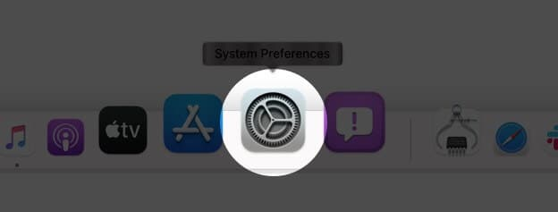 open system preferences from dock in macos big sur