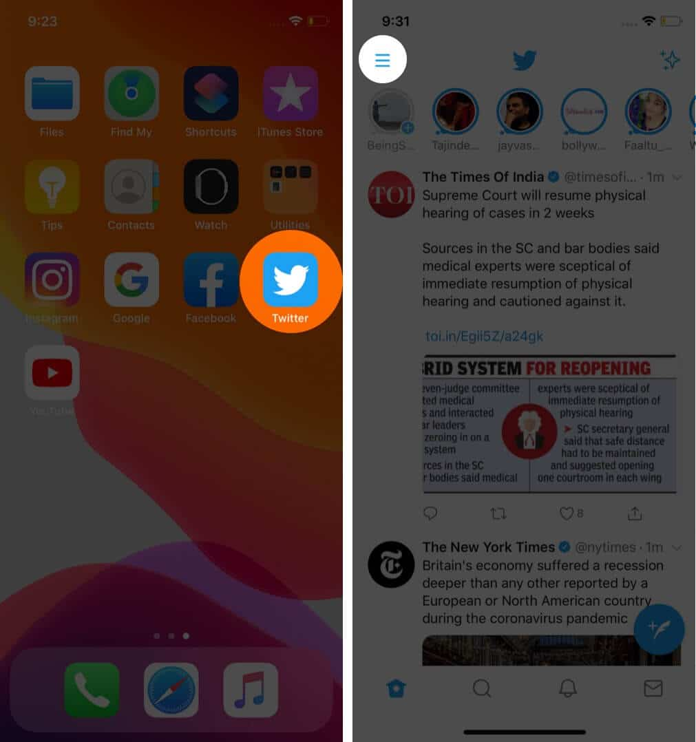 open twitter app and tap on menu on iphone