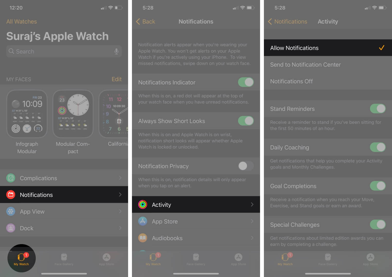 open watch app tap on notifications in my watch tab tap on activity and select allow notification on iphone