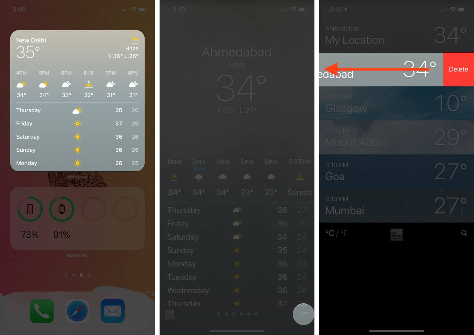 open weather app tap on stack icon then swipe location and tap on delete to remove saved location on iphone