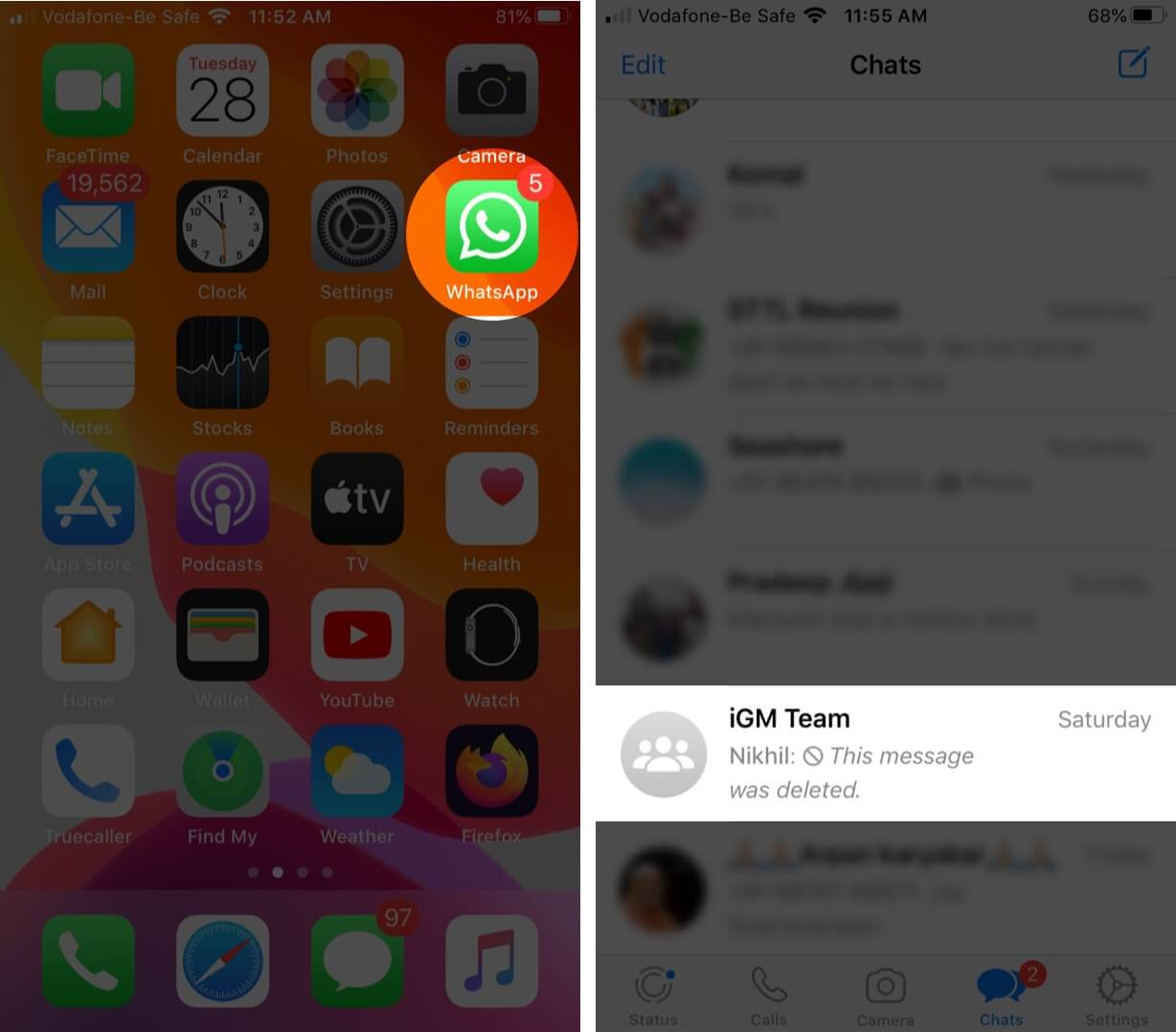 open whatsapp and tap on conversation on iphone