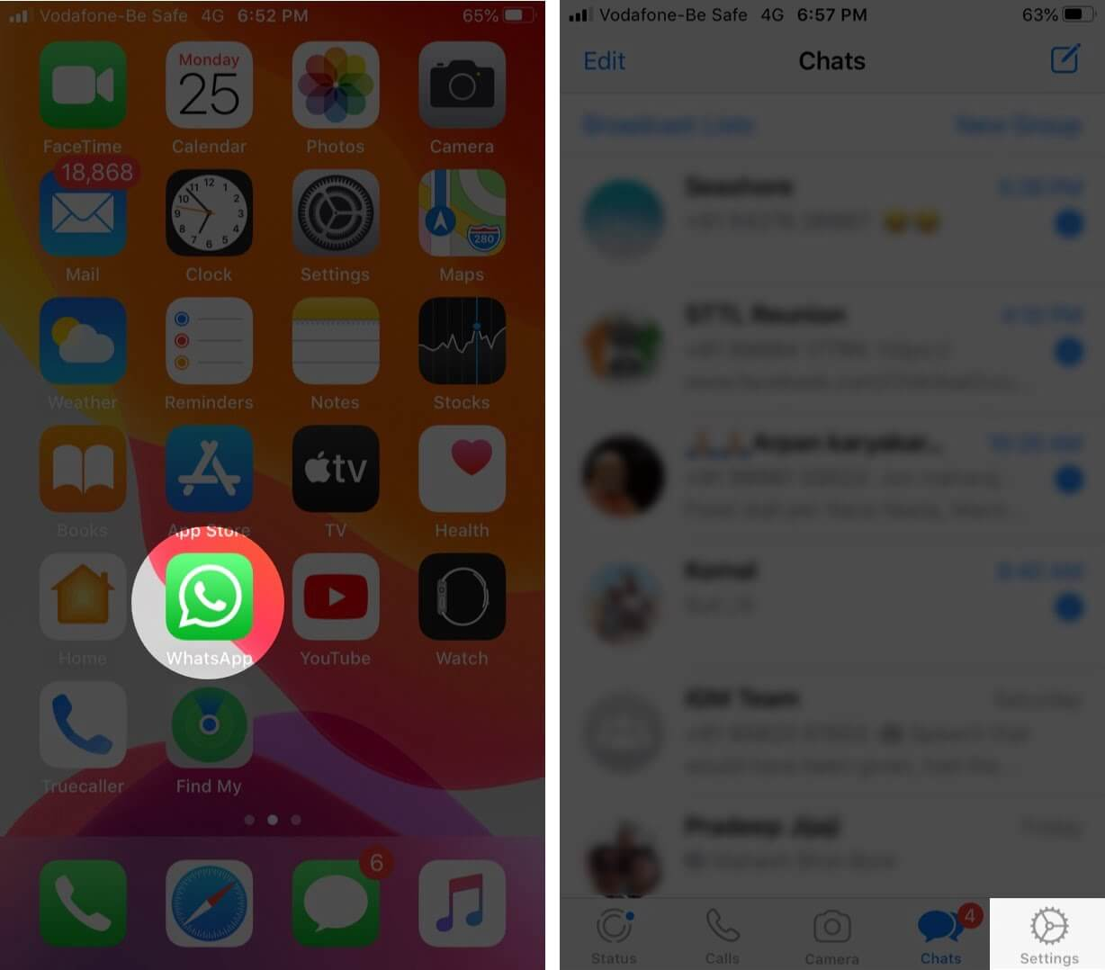 open whatsapp and tap settings on iphone