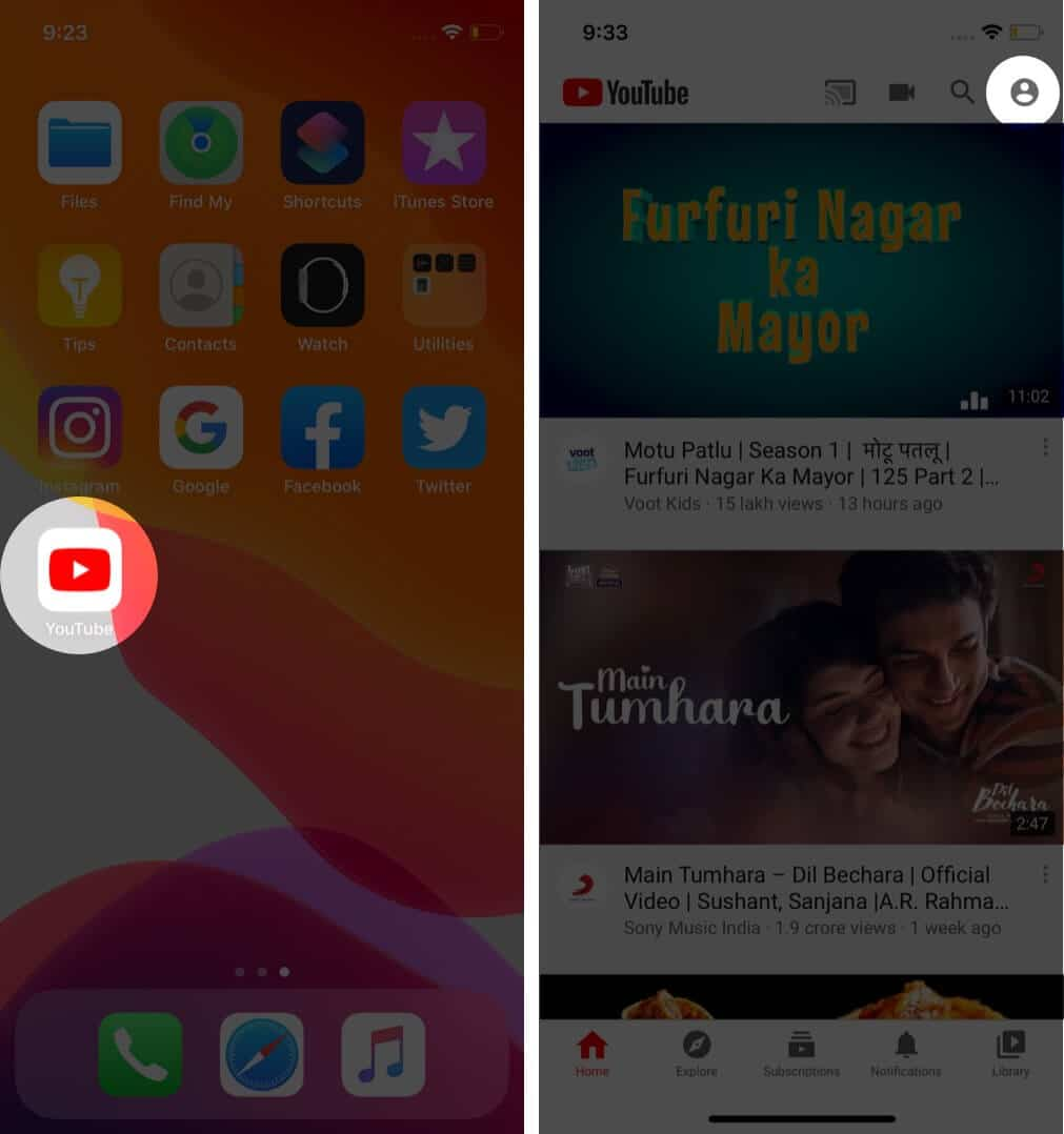 open youtube and tap on profile on iphone
