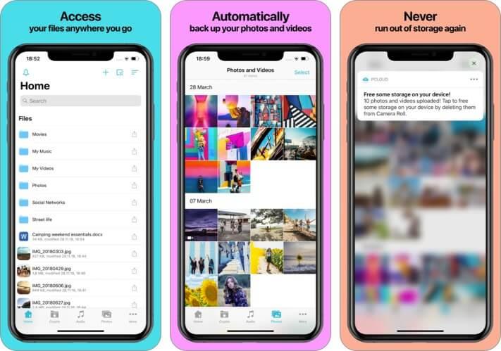 pCloud iPhone and iPad App Screenshot
