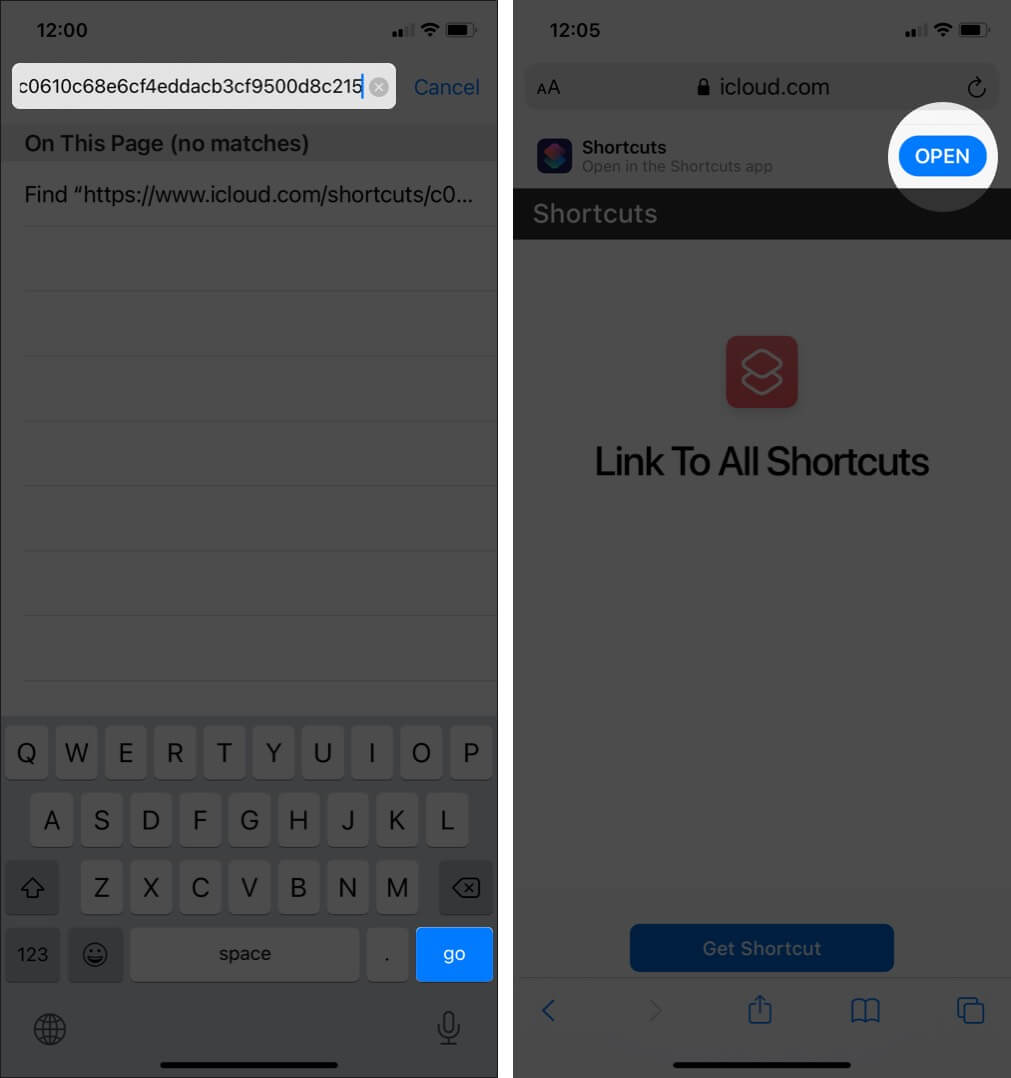 Paste Shortcut Link in Safari and Then Tap on Open