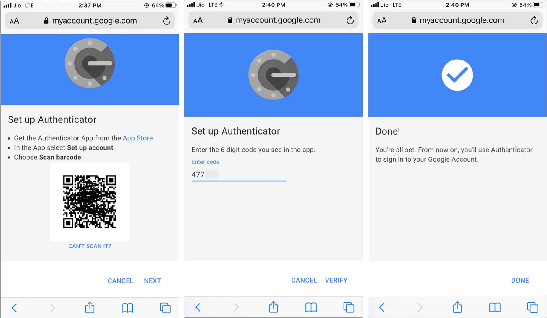 Paste six-digit code from authenticator app and tap Verify