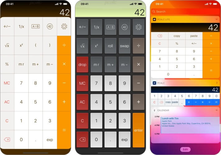 PCalc Lite iPhone and iPad Calculator App Screenshot