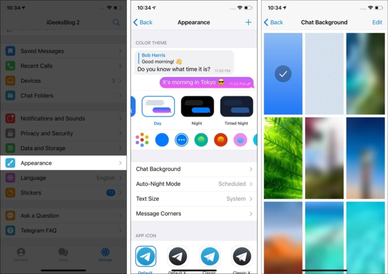 Personalize Telegram app with Themes Chat Backgrounds Colors