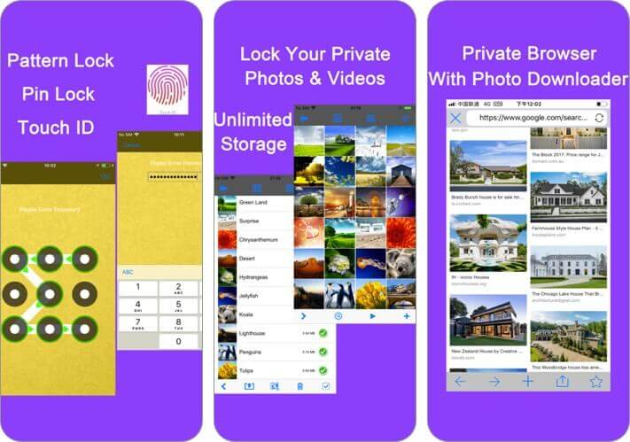 photo vault hide photos album iphone app screenshot
