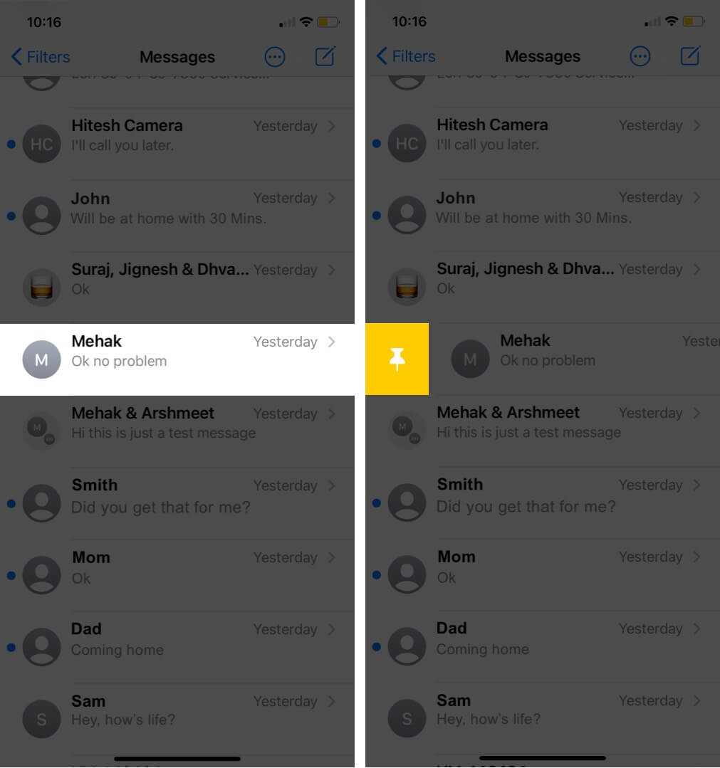 pin conversations in messages app on iphone running ios 14