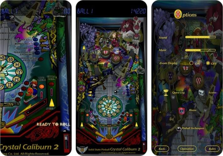 pinball crystal caliburn ii iphone and ipad game screenshot
