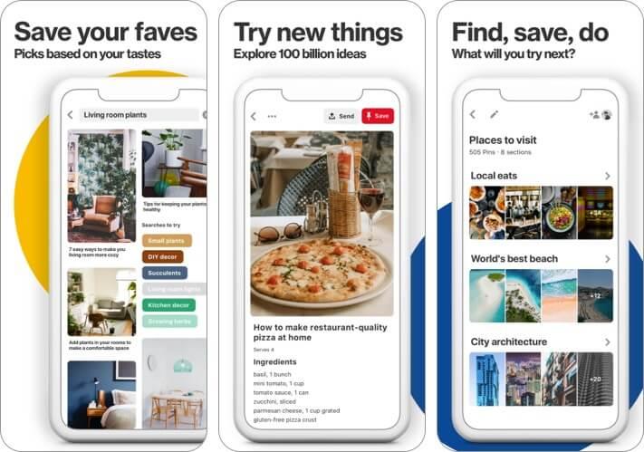 pinterest iphone and ipad app screenshot