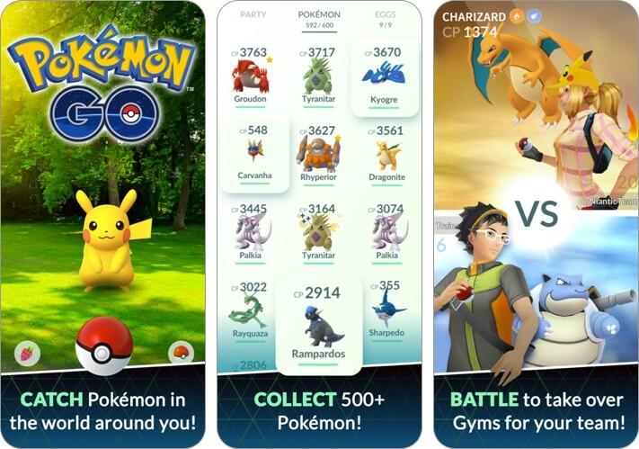 pokemon go iphone and ipad multiplayer game screenshot