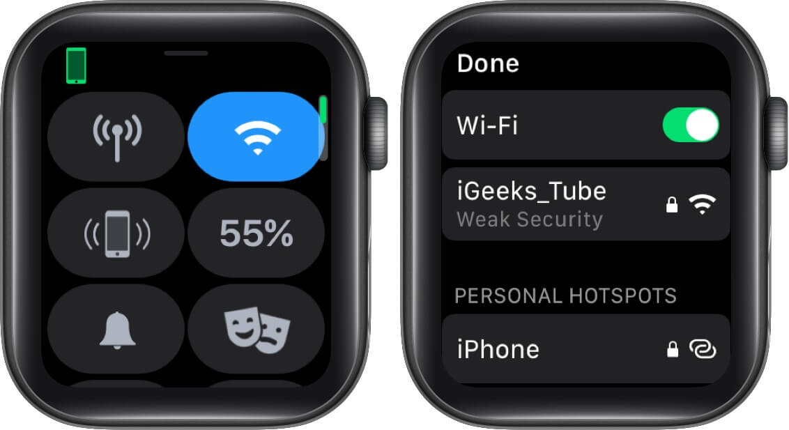 Press and Hold Wi-Fi Icon and Tap on Connected Wi-Fi on Apple Watch