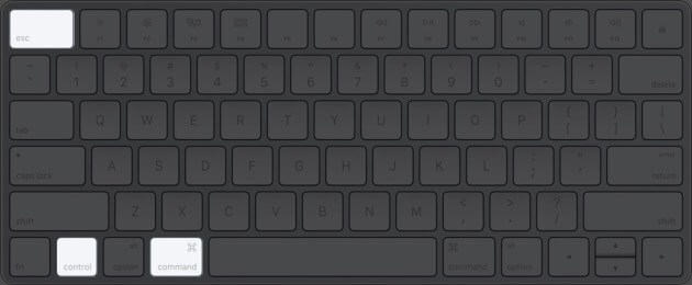 press command control and escape on mac keyboard