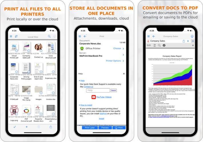 printcentral pro iphone and ipad printing app screenshot