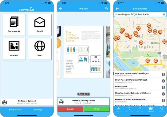 printeron iphone and ipad printing app screenshot