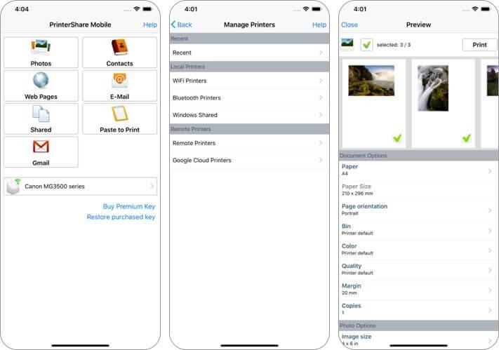 printershare iphone and ipad printing app screenshot