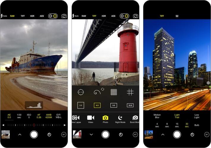 procam7 iphone camera app screenshot