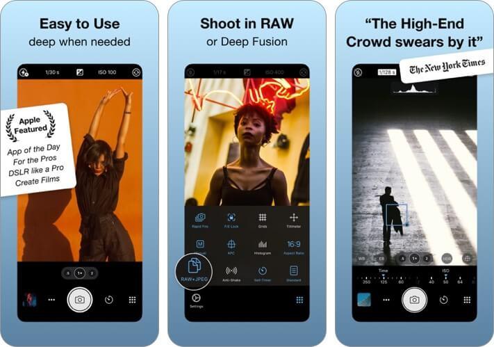 procamera manual iphone camera app screenshot