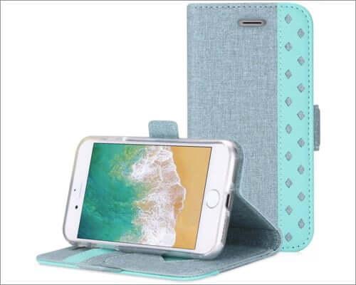 procase iphone se 2020 folio case with card slots