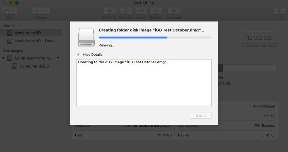 Process to Create Disk Image for Folder is Start on Mac