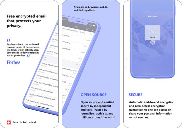 proton mail iphone and ipad email app screenshot