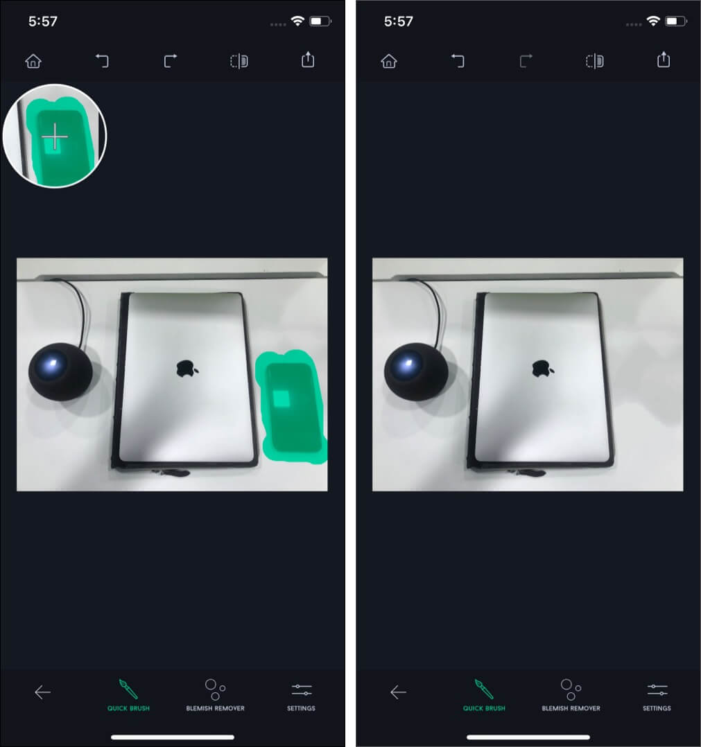 Quick Repair Tool in TouchRetouch on iPhone
