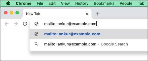 Quickly compose an email from Chrome URL address bar