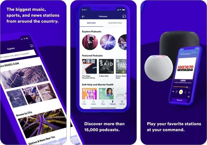 Radio.com iPhone und iPad App Screenshot