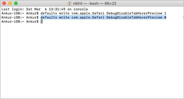 Re-enable Safari tab preview in macOS