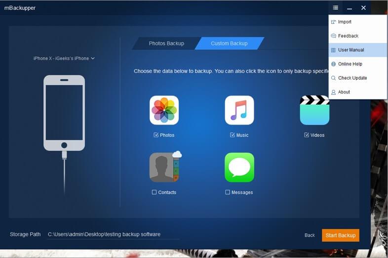read usermanual of mbackupper software on windows pc