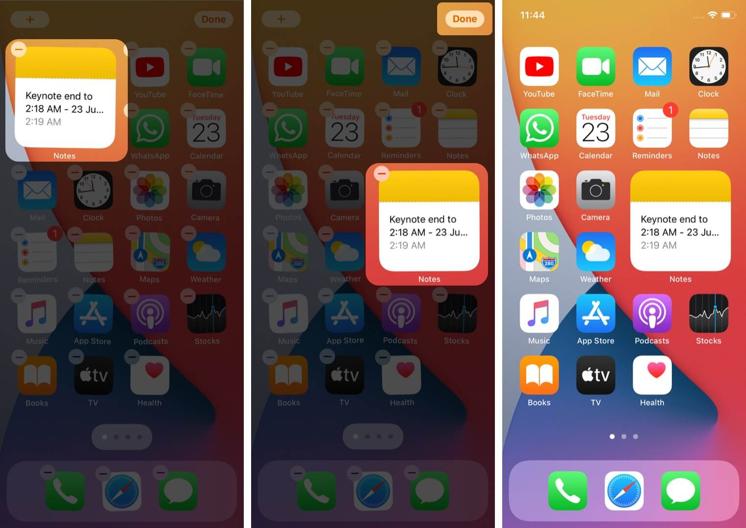 rearrange widget and tap on done to add widget from widget gallery to iphone home screen