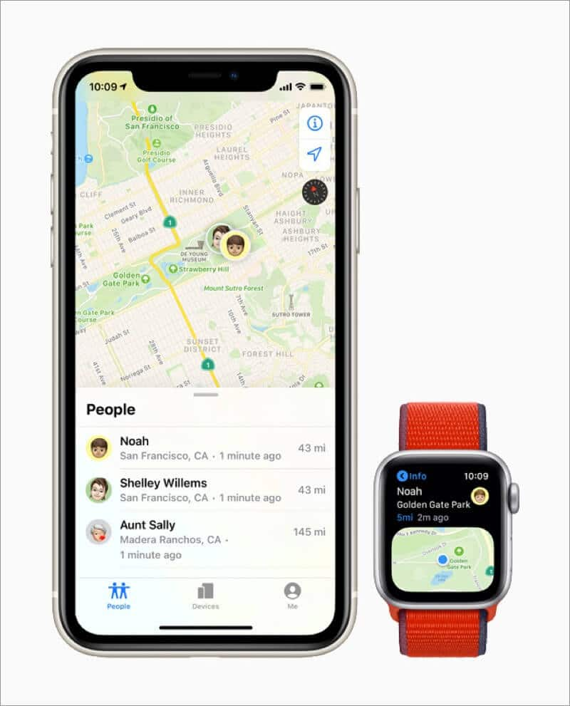 receive location notification of family member with find people app on apple watch