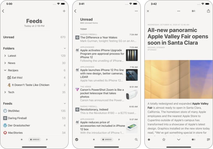 Reeder 5 iPhone and iPad reading app