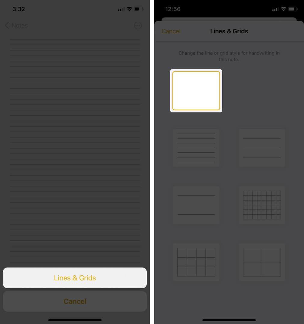 remove lines & grids from a notes app