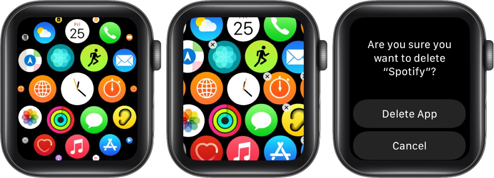 remove unused apps from apple watch to free up space
