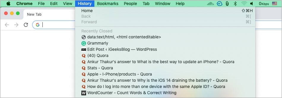 Reopen recently closed Chrome tab on Mac