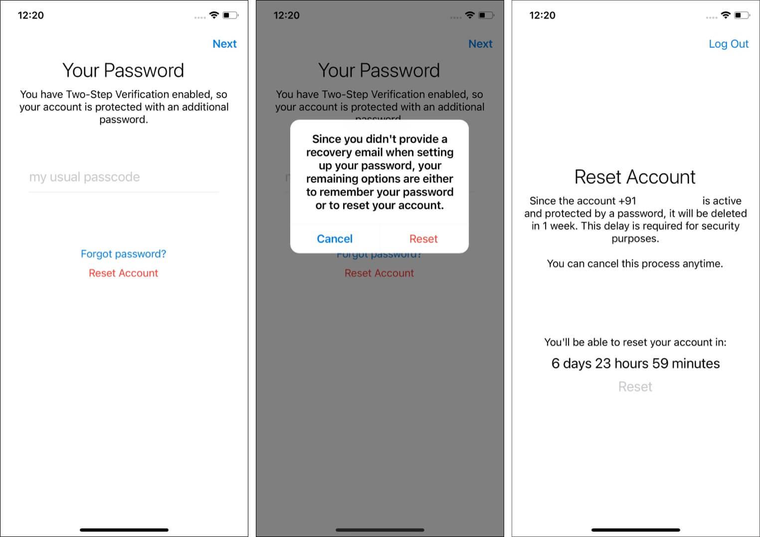 Reset Telegram account if you have Forgotten 2-step Verification Passcode